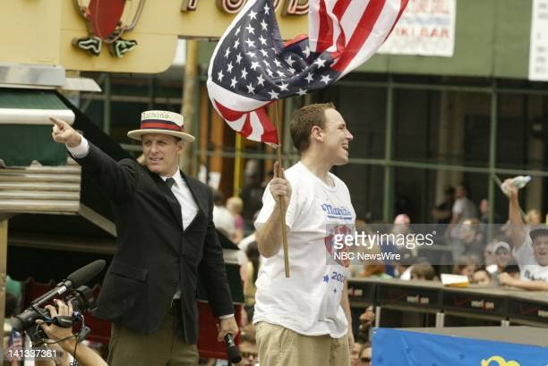 Announcer George Shea and winner Joey Chestnut at the 2008 Nathan's Famous July Fourth International Hotdog eating contest in Brooklyn's Coney Island...