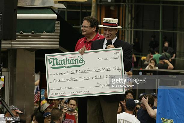 Announcer George Shea at the 2008 Nathan's Famous July Fourth International Hotdog eating contest in Brooklyn's Coney Island NY on July 4 2008 Photo...