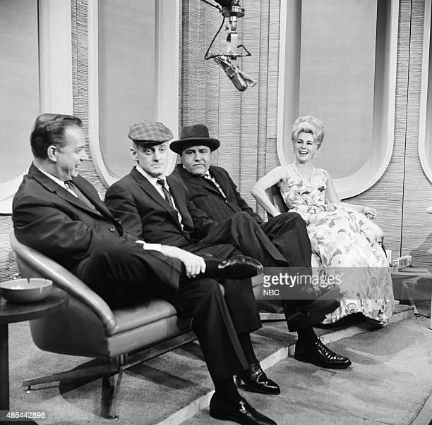 Announcer Hugh Downs actor Art Carney actor Jonathan Winters actress Eva Gabor in 1962