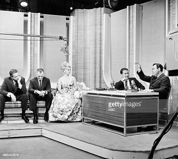 Announcer Hugh Downs actor Art Carney actress Eva Gabor guest host Merv Griffin actor Jonathan Winters in 1962