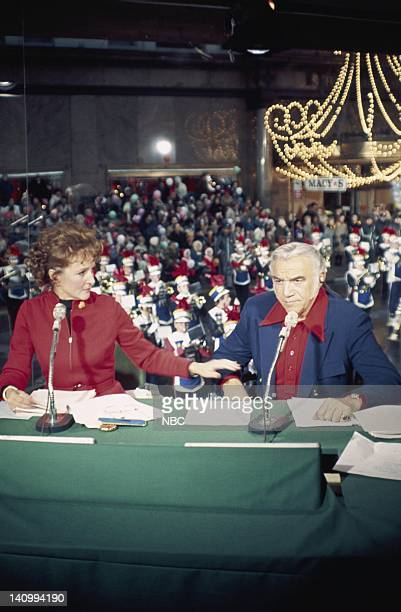 Announcers Betty White Lorne Greene during 1971 Macy's Thanksgiving Day Parade Photo by NBCU Photo Bank