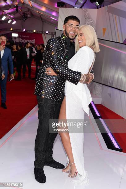Anuel AA and Karol G on the red carpet at the Mandalay Bay Resort and Casino in Las Vegas NV on April 25 2019