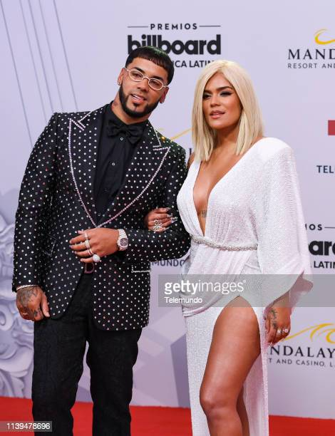 Pictured: Anuel AA and Karol G on the red carpet at the Mandalay Bay Resort and Casino in Las Vegas, NV on April 25, 2019 --