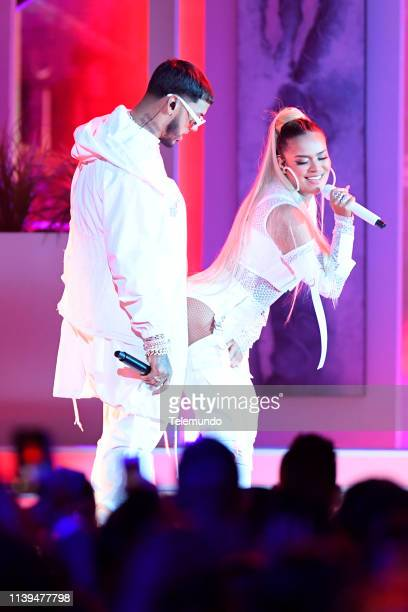 Anuel AA and Karol G perform at the Mandalay Bay Resort and Casino in Las Vegas NV on April 25 2019