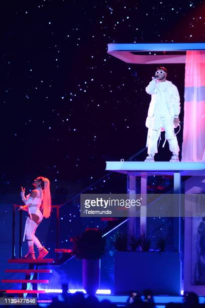 Pictured: Anuel AA and Karol G perform at the Mandalay Bay Resort and Casino in Las Vegas, NV on April 25, 2019 --
