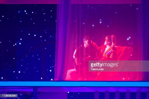Anuel AA and Karol G perform during rehearsals at the Mandalay Bay Resort and Casino in Las Vegas NV on April 22 2019