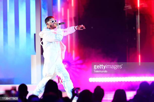 Anuel AA performs at the Mandalay Bay Resort and Casino in Las Vegas NV on April 25 2019