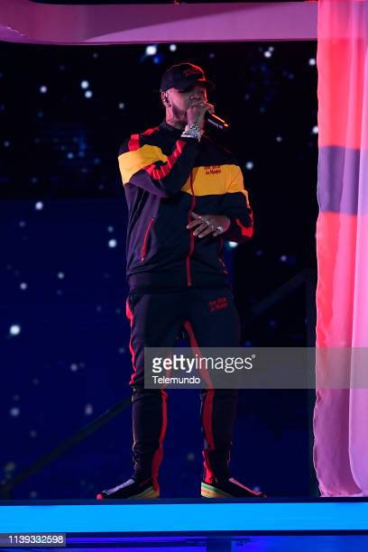 Anuel AA performs during rehearsals at the Mandalay Bay Resort and Casino in Las Vegas NV on April 24 2019