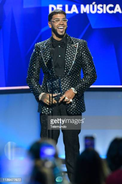 Anuel AA winner of the Artist of the Year New award speaks at the Mandalay Bay Resort and Casino in Las Vegas NV on April 25 2019