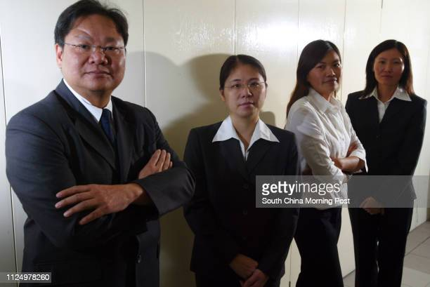 Pictured are four prison wardens Johnny Man Chikeung Poon Poyee Fung Meiyi and Candy Leung in their work uniforms This is for a feature story about...