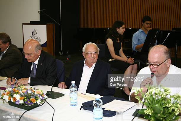 Pictured are, from left, attorney Yair Green, former Israeli President Yitzhak Navon, and attorney Yeheskell Beinisch at the annual meeting of the...