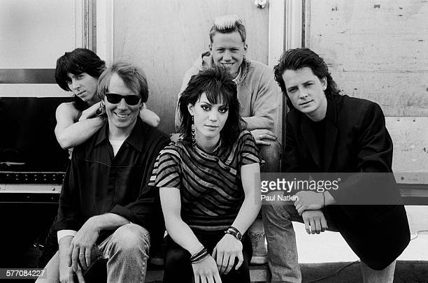 Pictured are from left Paul J Harkins Michael McKean Joan Jett Michael Dolan and Michael J Fox as they pose outside the Thirsty Whale bar in costume...