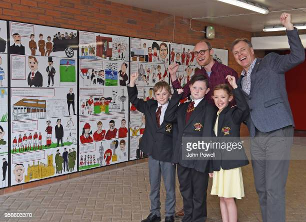 Pictured are local school children with artist David Andrews and Stephen Done LFC museum curator as part of Liverpool Football Club's 125th...