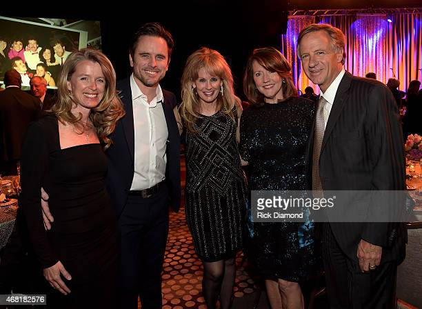 Pictured are Patty Hanson Charles Esten TJ Martell Foundation's Laura Heatherly Crissy Haslam and Tennessee Governor Bill Haslam at the TJ Martell...