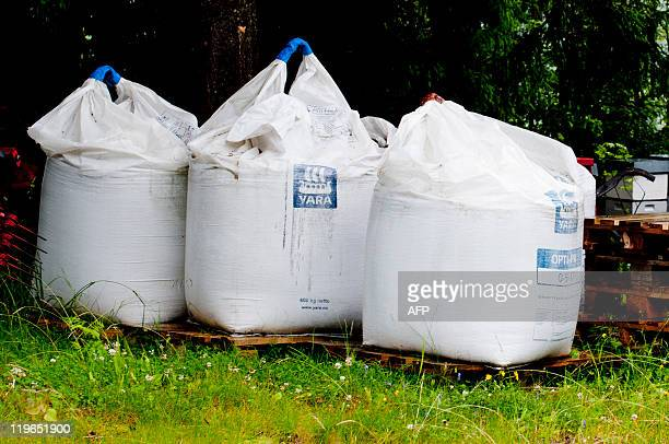 Pictured are three bags of fertilizer found on the farm of Anders Behring Breivik the man suspected to be behind Friday's bomb attack on Oslo on July...
