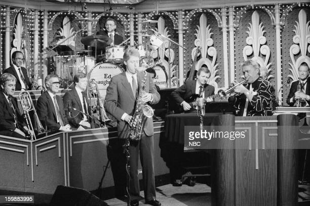 Arkansas Governor Bill Clinton bandleader Doc Severinsen performing with the Tonight Show Band on July 28 1988