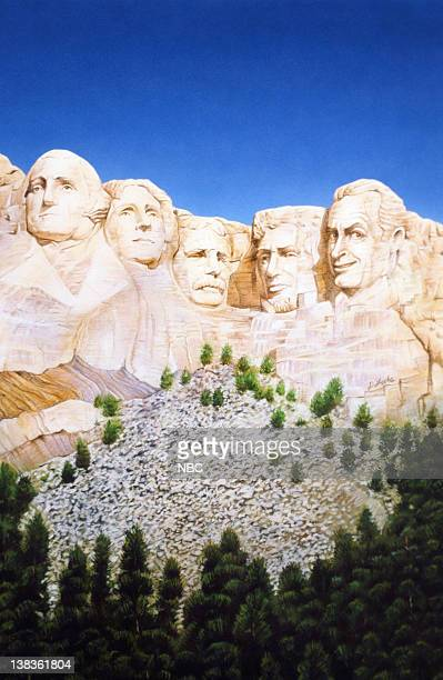 Artistic spoof of Mount Rushmore George Washington Thomas Jefferson Theodore Roosevelt Abraham Lincoln Bob Hope