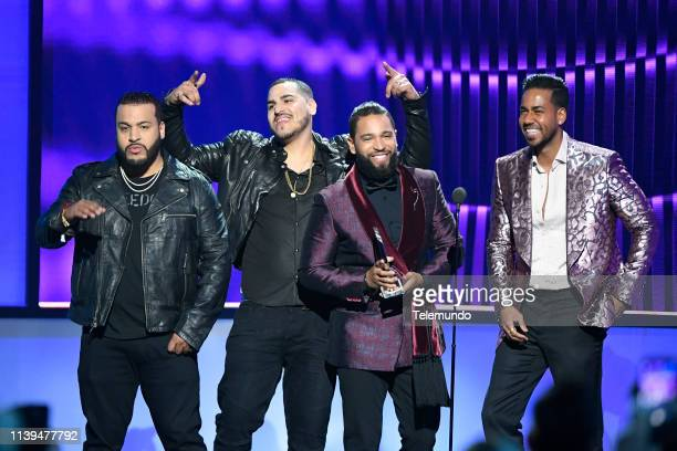 "Pictured: Aventura, winner of the ""Tropical Artist of the Year, Duo or Group"" award, and Romeo Santos at the Mandalay Bay Resort and Casino in Las..."