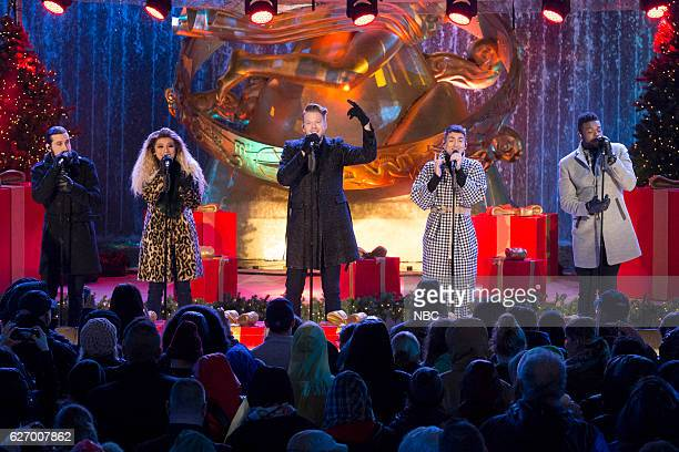 Avi Kaplan Kirstin Maldonado Scott Hoying Mitchell Grassi and Kevin Olusola of Pentatonix during the 2016 Christmas in Rockefeller Center