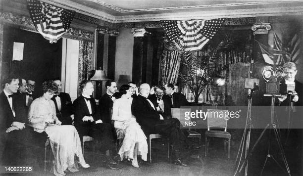 Pictured: Aviators Charles A. Lindbergh, Amelia Earhart, Clarence Chamberlin, Ruth Elder, Dr. Kimball at the Astor Hotel in New York, NY in April...