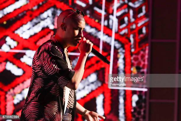 Bad Bunny performs during rehearsals at the Watsco Center in the University of Miami Coral Gables Florida on April 25 2017