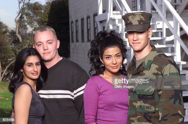 Bahraini princess, Meriam Al-Khalifa, U.S. Marine Lance Corporal Jason Johnson, actors Mark-Paul Gosselaar and Marisol Nichols who portray the two...