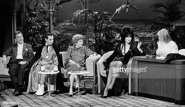 Bandleader Doc Severinsen actor Paul Reubens comedian Phyllis Diller Actress Cassandra Peterson during an interview with guest host Joan Rivers on...