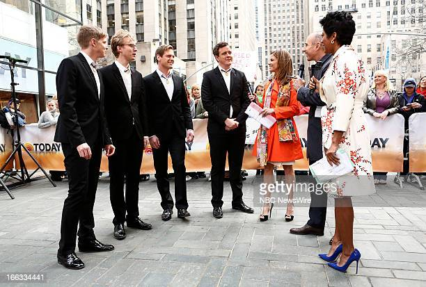 Barbershop quartet The Ringmasters Natalie Morales Matt Lauer and Tamron Hall appear on NBC News' Today show
