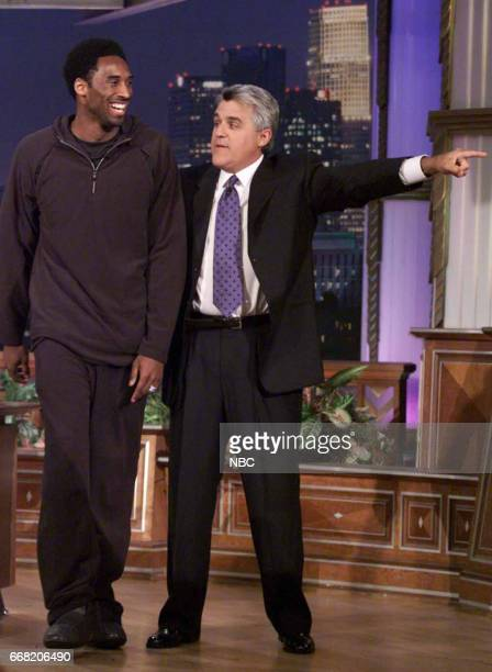 Basketball Player Kobe Bryant arriving on the set with Host Jay Leno on June 28th 2001