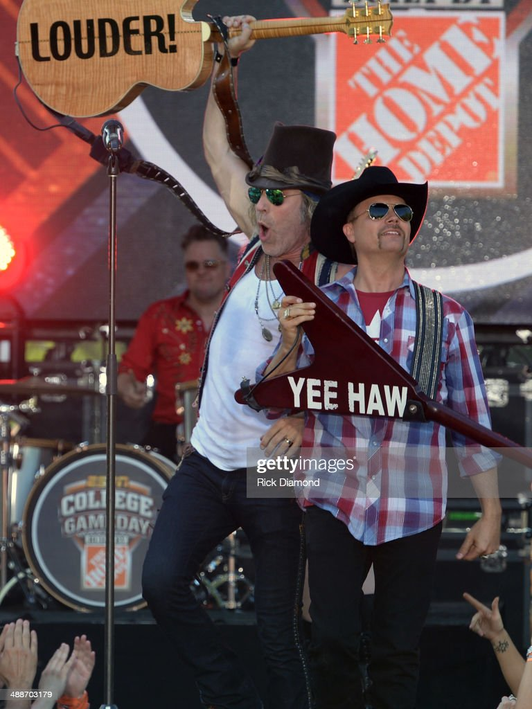 Big & Rich's Big Kenny and John Rich on the set of 'ESPN GameDay' opening taping as Big & Rich, Cowboy Troy, Lizzie Hale and Travie McCoy perform at The Woods Amphitheater at Fontanelon May 7, 2014 in Nashville, Tennessee.