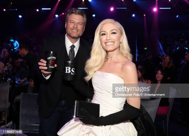 Blake Shelton and Gwen Stefani winner of the Fashion Icon of 2019 award attend the 2019 E People's Choice Awards held at the Barker Hangar on...