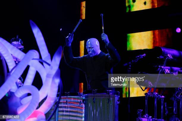 Blue Man Group performs during rehearsals at the Watsco Center in the University of Miami Coral Gables Florida on April 26 2017