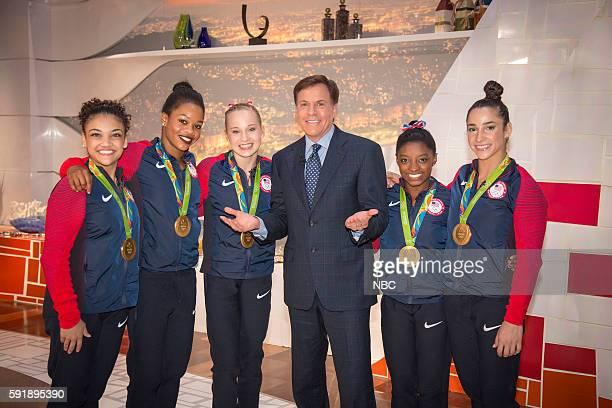 Bob Costas poses with US Gymnasts Laurie Hernandez Gabby Douglas Madison Kocian Simone Biles and Aly Raisman on August 9 2016