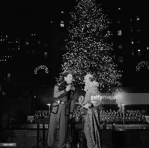 Bob Smith as Buffalo Bob Smith Lew Anderson as Clarabell the Clown during the Christmas tree lighting ceremony at Rockefeller Center Plaza in New...