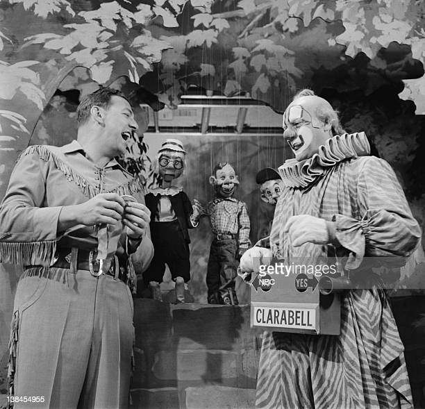 Bob Smith as Buffalo Bob Smith unidentified puppet Howdy Doody Dilly Dally and Lew Anderson as Clarabell the Clown
