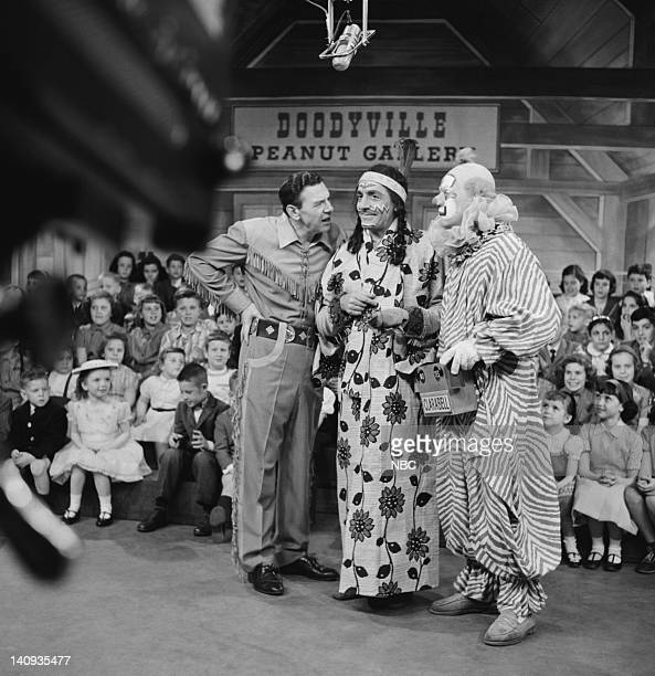 Bob Smith as host Buffalo Bob Smith Bill LeCornec as Chief Thunderthud Robert Keeshan as Clarabell the Clown Photo by NBCU Photo Bank