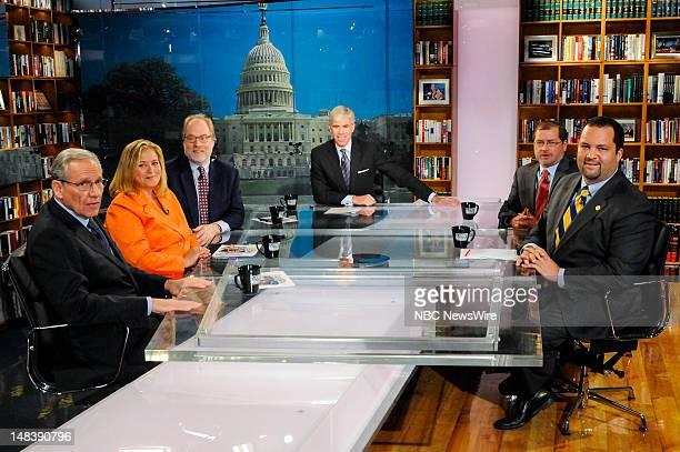 Pictured: – Bob Woodward, Associate Editor, Washington Post, Hilary Rosen, Democratic Strategist, Mike Murphy, Republican Strategist, moderator David...