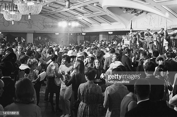 Bobby Kennedy supporters singing and dancing while waiting for Senator Robert F Kennedy's speech before he was fatally shot on June 5 1968 during his...