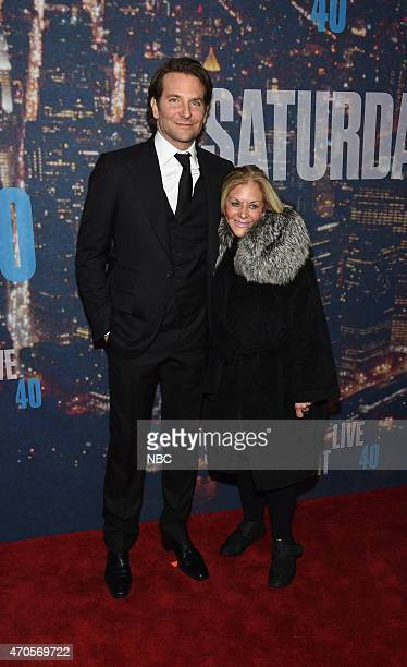 Bradley Cooper Gloria Cooper walk the red carpet at the SNL 40th Anniversary Special at 30 Rockefeller Plaza in New York NY on February 15 2015