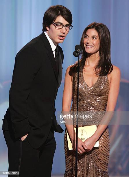 Brandon Routh and Teri Hatcher on stage during The 63rd Annual Golden Globe Awards at the Beverly Hilton Hotel