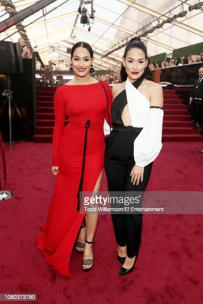 Brie Bella and Nikki Bella aka the Bella Twins arrive to the 2018 E People's Choice Awards held at the Barker Hangar on November 11 2018 NUP_185069