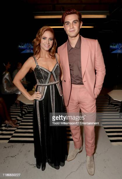 Pictured: Brittany Snow and KJ Apa pose backstage during the 2019 E! People's Choice Awards held at the Barker Hangar on November 10, 2019 --...