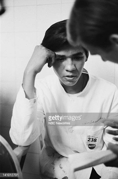 Busboy Juan Romero who assisted Senator Robert F Kennedy after Kennedy was fatally shot giving his statement on June 5 1968 during his Presidential...