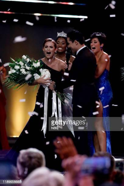 Pictured: Camille Schrier, Miss America 2020; Nia Franklin, Miss America 2019; Mario Lopez; Victoria Hill, Miss Georgia 2019 at Mohegan Sun in...