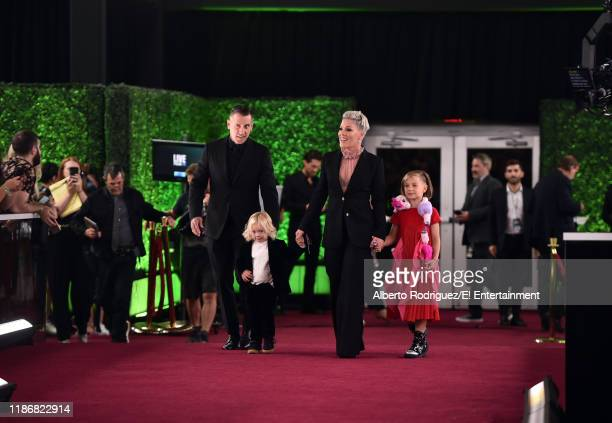 Carey Hart Jameson Hart Pink and Willow Hart arrive to the 2019 E People's Choice Awards held at the Barker Hangar on November 10 2019 NUP_188996