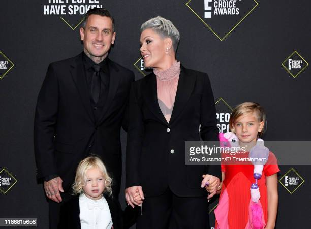 Carey Hart Pink Jameson Hart and Willow Hart arrive to the 2019 E People's Choice Awards held at the Barker Hangar on November 10 2019 NUP_188989