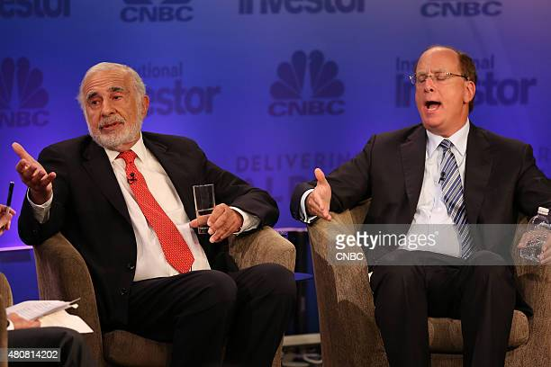 Carl Icahn Chairman Icahn Enterprises in heated debate with Larry Fink Blackrock CEO at the 2015 Delivering Alpha on July 15 2015