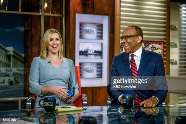 Carol Lee National Political Reporter NBC News and Eugene Robinson Columnist The Washington Post appear on Meet the Press in Washington DC Sunday Oct...