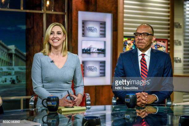 Carol Lee National Political Reporter NBC News and Eugene Robinson Columnist The Washington Post appear on 'Meet the Press' in Washington DC Sunday...