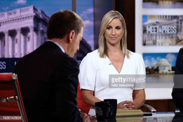 Carol Lee NBC News National Political Reporter appears on Meet the Press in Washington DC Sunday August 19 2018